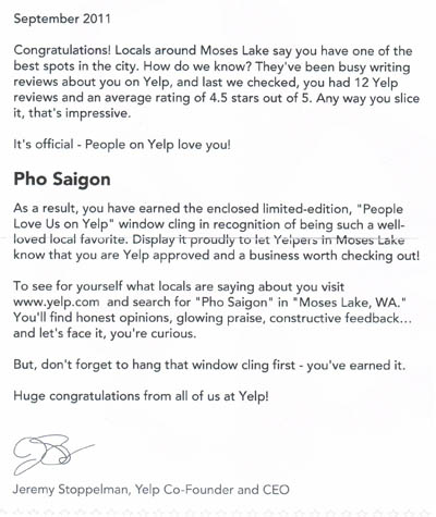 Yelp Letter